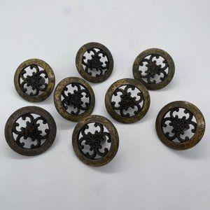 8 VINTAGE Door or Drawer Knobs Pulls Vintage Round